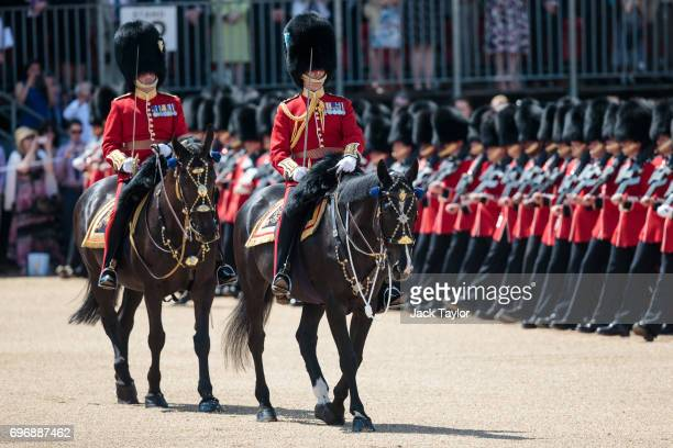 The Trooping The Colour parade takes place in Horse Guards Parade on June 17 2017 in London England The annual ceremony is Queen Elizabeth II's...