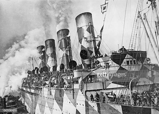 The troopship USS Leviathan in a dazzle camouflage pattern, 1918. The Leviathan was formerly the SS Vaterland, a German, Hamburg America Line, ship,...