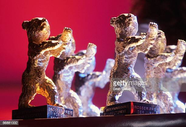 The trophies are seen at the Golden Bear Award Gala as part of the 56th Berlin International Film Festival on February 18, 2006 in Berlin, Germany.