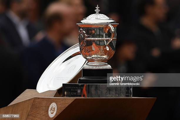 The trophies await presentation following the Ladies Singles final match between Serena Williams of the United States Garbine Muguruza of Spain on...