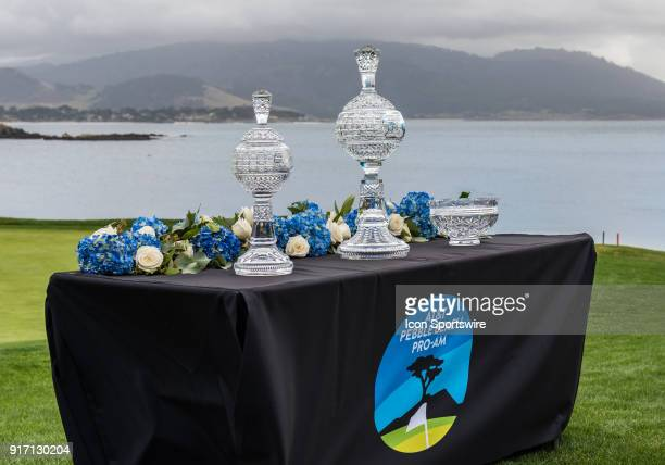 The trophies set on the picturesque setting of the 18th hole at the conclusion of the final round of the ATT Pebble Beach ProAm on Sunday February 11...