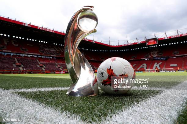The trophy and the match ball are seen on the pitch prior to the Final of the UEFA Women's Euro 2017 between Netherlands v Denmark at FC Twente...