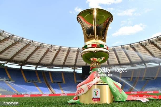 The trophy at the Olympic stadium prior the Coppa Italia Final match between Juventus and SSC Napoli at Olimpico Stadium on June 16, 2020 in Rome,...