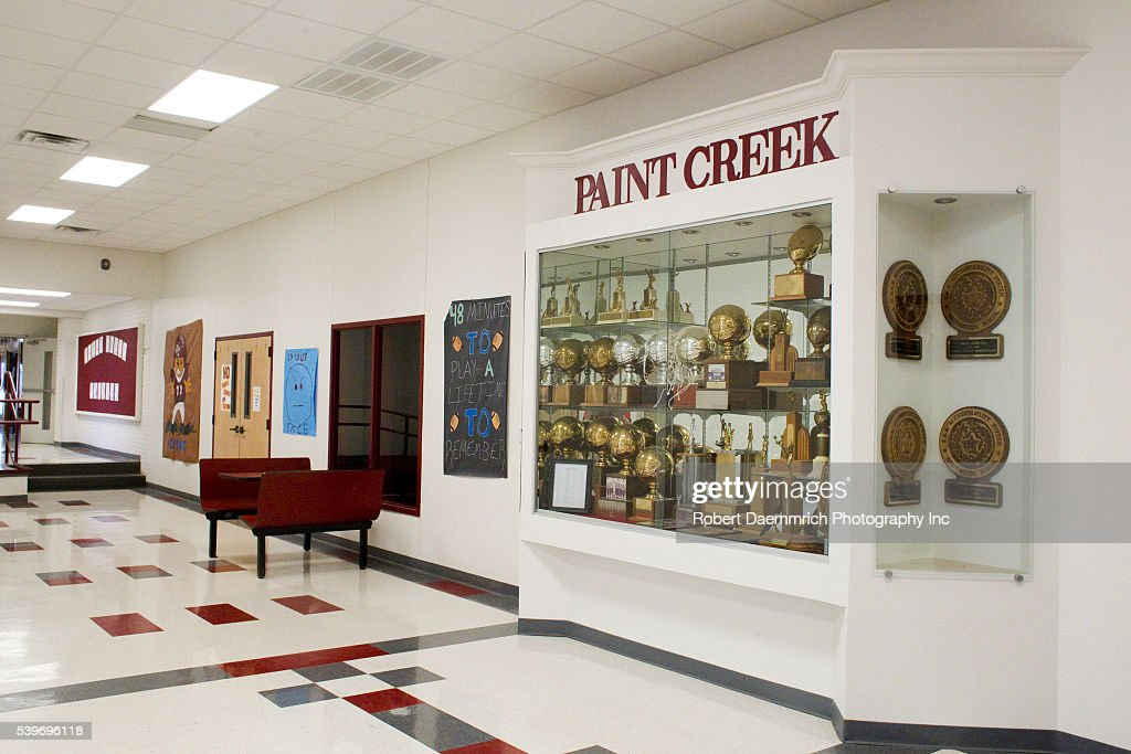 The Trophy Case And Hallway Outside Gymnasium At Paint Creek TX Schools In