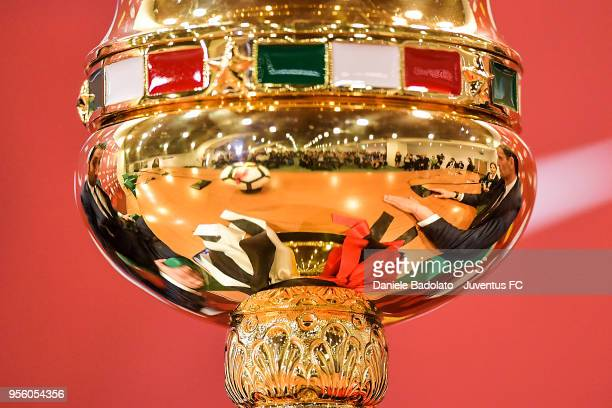 the trophy during the Juventus press conference for the TIM Cup final on May 8 2018 in Rome Italy