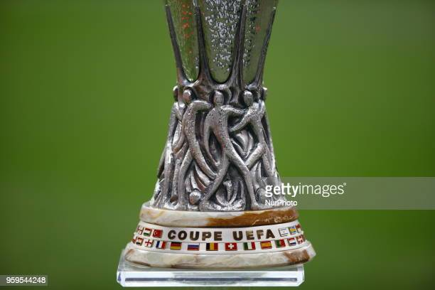 The Trophy during the UEFA Europa League Final between Olympique de Marseille and Club Atletico de Madrid at Stade de Lyon on May 16 2018 in Lyon...