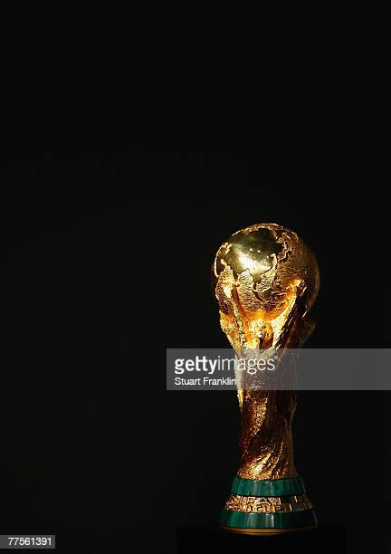 The trophy for the FIFA World Cup is seen at the FIFA Executive Committee announcement for the host venue of the FIFA Mens World Cup 2014, at the...