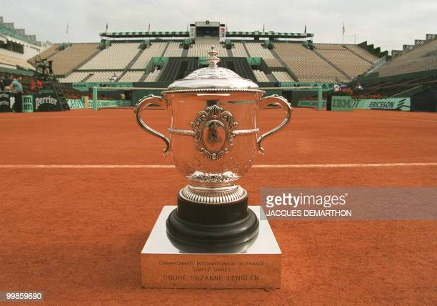 The trophy for the French Open women's singles competition is seen 06 June on Center Court at the Roland Garros stadium in Paris The women's or...