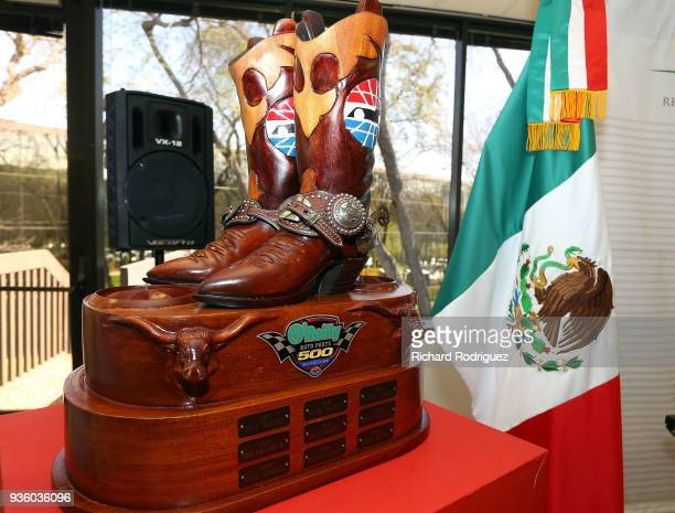 The trophy for the upcoming O'Reilly Auto Parts 500 is displayed at an event at the Mexican Consulate that featured driver Daniel Suarez on March 21...