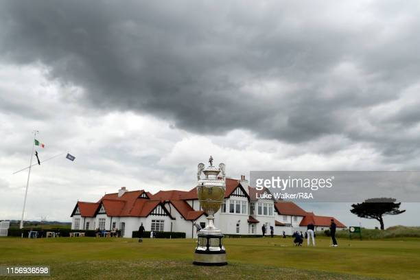 The trophy in front of the club house during Day Three of the RA Amateur Championship at Portmarnock Golf Club on June 19 2019 in Portmarnock Ireland