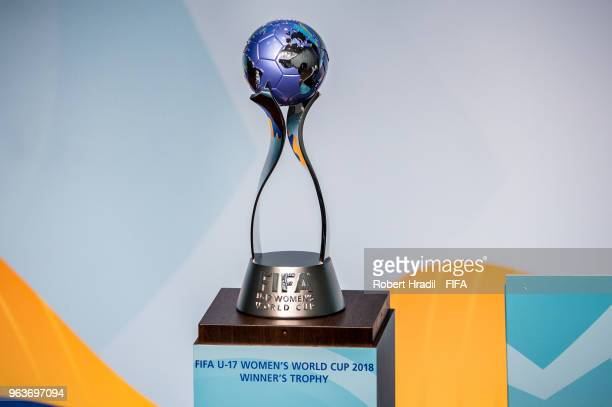 The trophy is being displayed during the Official Draw for the FIFA U17 Women's World Cup on May 30 2018 at the Home of FIFA in Zurich Switzerland
