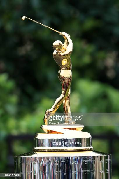The trophy is displayed during the final round of The PLAYERS Championship on The Stadium Course at TPC Sawgrass on March 17, 2019 in Ponte Vedra...