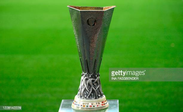The trophy is displayed on the pitch prior to the UEFA Europa League final football match Sevilla v Inter Milan on August 21 in Cologne, western...