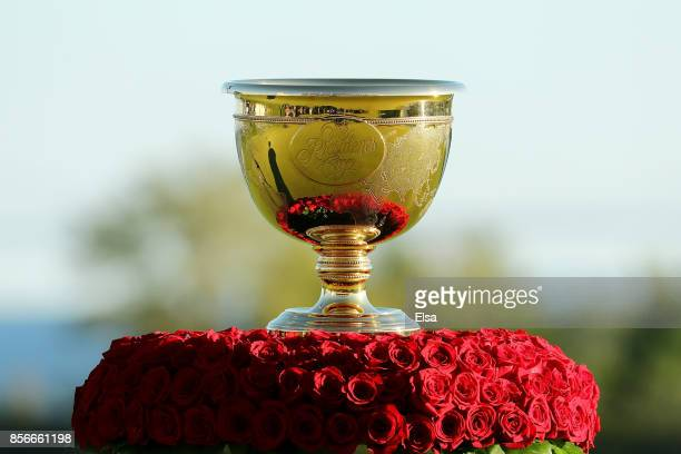 The trophy is displayed prior to its presentation after Sunday singles matches of the Presidents Cup at Liberty National Golf Club on October 1 2017...