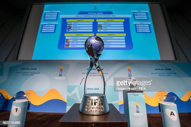 The trophy is displayed with the draw results in background during the Official Draw for the FIFA U17 Women's World Cup on May 30 2018 at the Home of...