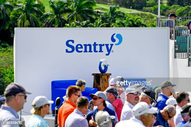 The trophy is on display at the first tee during the first round of the Sentry Tournament of Champions on the Plantation Course at Kapalua on January...