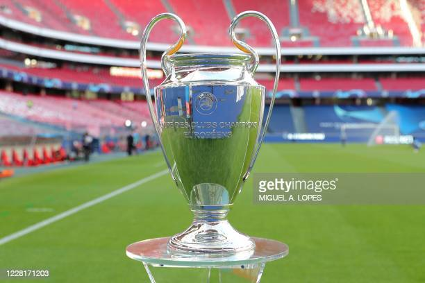 The trophy is on display prior to the UEFA Champions League final football match between Paris Saint-Germain and Bayern Munich at the Luz stadium in...