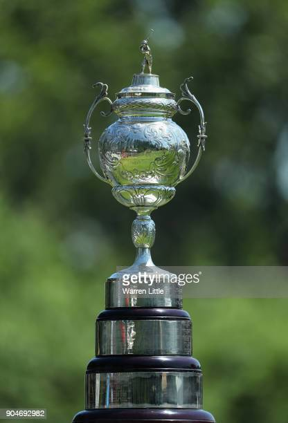 The trophy is pictured ahead of the final round of the BMW South African Open Championship at Glendower Golf Club on January 14 2018 in Johannesburg...