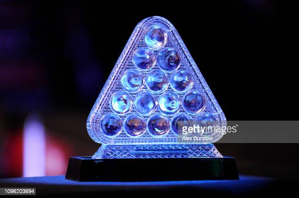 The trophy is pictured during a break in the quarterfinal match between Neil Robertson of Australia and Barry Hawkins of England on day six of the...