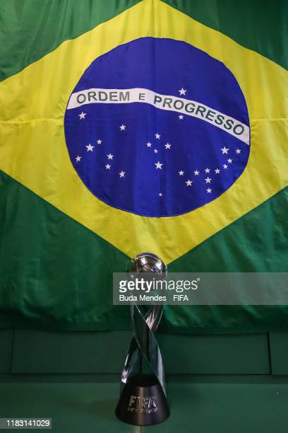 The trophy is seen at the dressing room of Brazil after the Final of the FIFA U-17 World Cup Brazil 2019 between Mexico and Brazil at the Estadio...