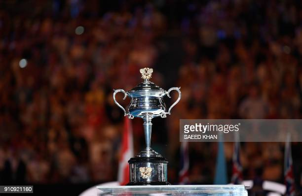 The trophy is seen before it is presented to winner Denmark's Caroline Wozniacki after she beat Romania's Simona Halep in their women's singles final...