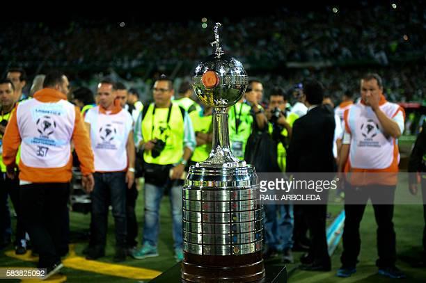 The trophy is seen before the Colombia's Atletico Nacional vs Ecuador's Independiente del Valle Copa Libertadores 2016 final football match at...