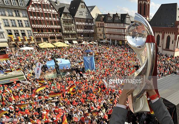 The trophy is seen during a reception for the German women's national team on the balcony of the city hall 'Roemer' on September 11 2009 in Frankfurt...
