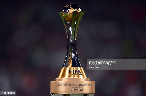The trophy is seen during the FIFA Club World Cup Final between FC Bayern Muenchen and Raja Casablanca at Marrakech Stadium on December 21, 2013 in...