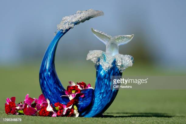 The trophy is seen during the second round of the Sentry Tournament Of Champions at the Kapalua Plantation Course on January 08, 2021 in Kapalua,...