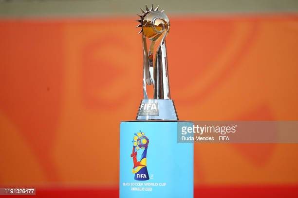 The trophy is seen on display ahead of the presentation following the FIFA Beach Soccer World Cup Paraguay 2019 Final Match between Italy and...