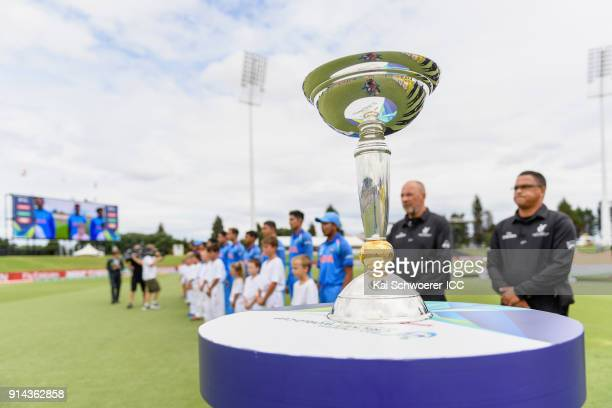 The trophy is seen on display as India line up for their national anthem prior to the ICC U19 Cricket World Cup Final match between Australia and...