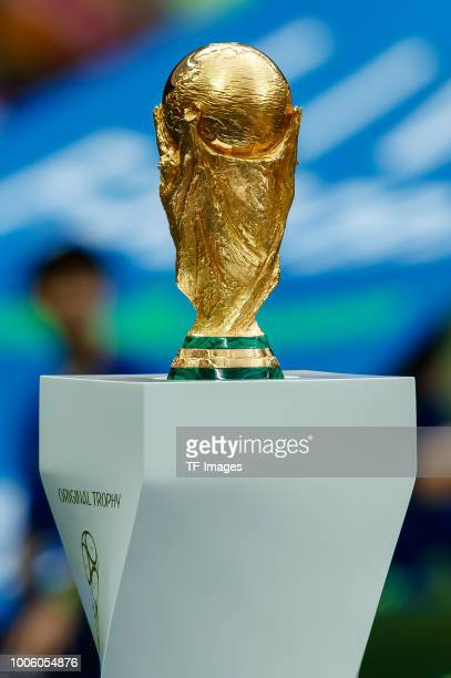 The trophy is seen prior to the 2018 FIFA World Cup Russia Final between France and Croatia at Luzhniki Stadium on July 15, 2018 in Moscow, Russia.