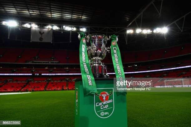 The trophy is seen prior to the Carabao Cup Fourth Round match between Tottenham Hotspur and West Ham United at Wembley Stadium on October 25 2017 in...