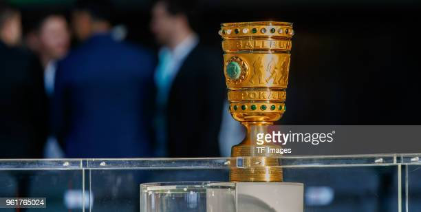 The trophy is seen prior to the DFB Cup final between Bayern Muenchen and Eintracht Frankfurt at Olympiastadion on May 19 2018 in Berlin Germany