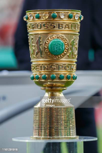 The trophy is seen prior to the DFB Cup first round match between Energie Cottbus and FC Bayern Muenchen at Stadion der Freundschaft on August 12,...