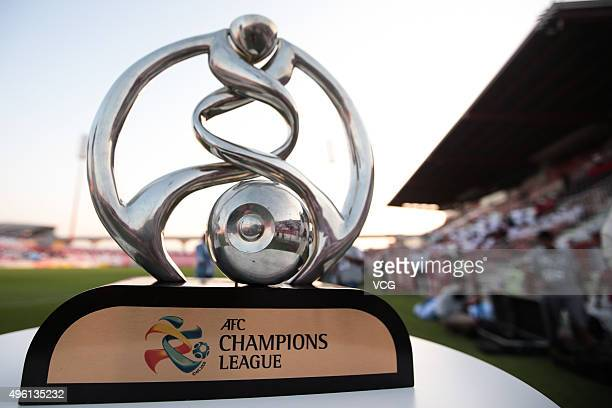 The trophy is seen prior to the first leg of the AFC Champions League final match between Al Ahli and Guangzhou Evergrande at the AlRashid Stadium on...