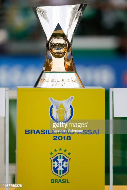 The trophy of Brasileirao 2018 is showed after the match between Palmeiras and Vitoria for the Brasileirao Series A 2018 at Allianz Parque Stadium on...