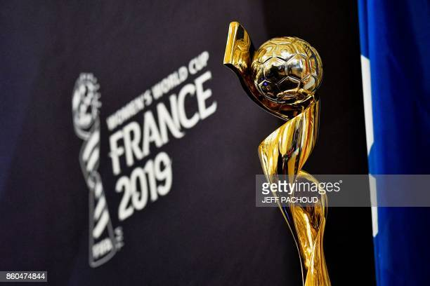 The trophy of FIFA Women's World Cup France 2019 is displayed during a press conference to present the FIFA Women's World Cup France 2019 at the town...