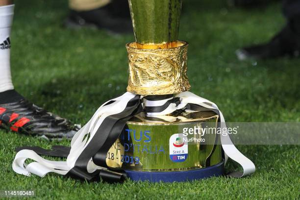 The trophy of Scudetto 20182019 during the victory ceremony following the Italian Serie A last football match of the season Juventus versus Atalanta...