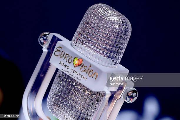 The Trophy of the 2018 Eurovision Song Contest Grand Final at the Altice Arena in Lisbon Portugal on May 12 2018