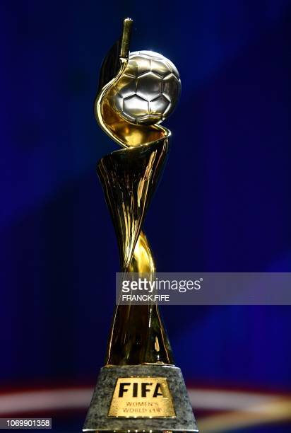 The trophy of the 2019 FIFA Women World Cup is pictured during the final draw of the 2019 FIFA Women World cup football tournament in...