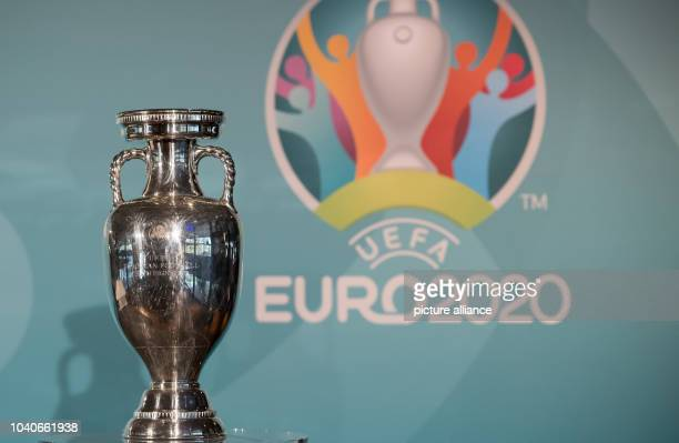 The trophy of the European Soccer Championship can be seen during the presentation of the logo for the European Soccer Championship 2020 in Munich,...