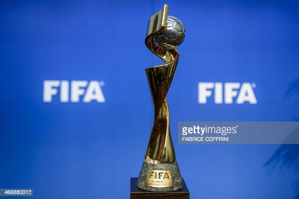 The trophy of the FIFA women's fooball World Cup is displayed on March 19 2015 in Zurich after the FIFA's executive committee decided that France...