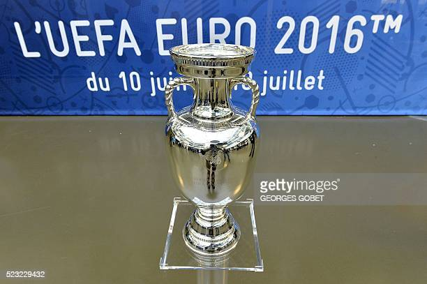 The trophy of the UEFA Euro 2016 football tournament is displayed at the headquarters of the Bordeaux Metropole conurbation authority on April 22...