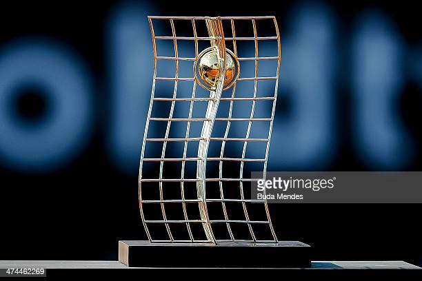 The trophy of women's singles final tennis during the ATP Rio Open 2014 at Jockey Club Rio de Janeiro on February 23 2014 in Rio de Janeiro Brazil