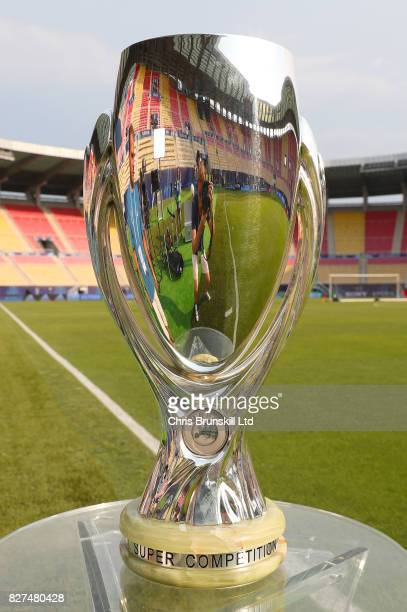 The trophy on display ahead of the UEFA Super Cup at the National Arena Filip II Macedonian on August 7 2017 in Skopje Macedonia