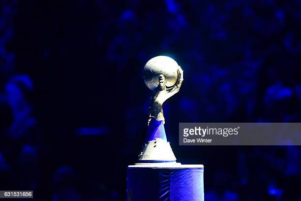 The trophy on display before the IHF Men's World Championship match between France and Brazil Preliminary round Group A at AccorHotels Arena on...
