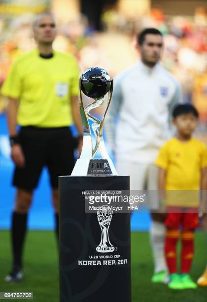 The trophy on display prior to the FIFA U20 World Cup Korea Republic 2017 Final between Venezuela and England at Suwon World Cup Stadium on June 11...