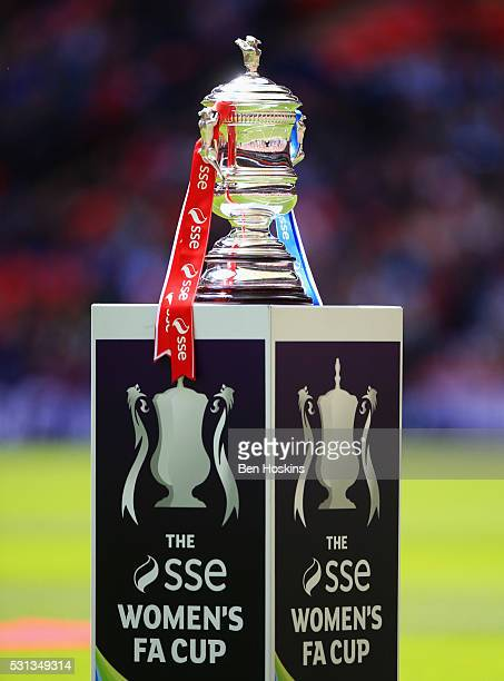 The trophy on display prior to the SSE Women's FA Cup Final between Arsenal Ladies and Chelsea Ladies at Wembley Stadium on May 14 2016 in London...