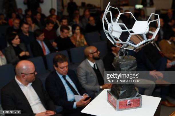 The trophy pictured at the presentation of the playing schedule for the play-offs of the Jupiler Pro League, the Belgian first division soccer...